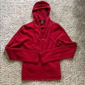 100% Red Cashmere Hoodie Never Used
